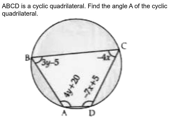 """ABCD is a cyclic quadrilateral. Find the angles of the cyclic quadrilateral.  <br>  <img src=""""https://d10lpgp6xz60nq.cloudfront.net/physics_images/OSW_QB_MAT_X_C03_E03_079_Q01.png"""" width=""""80%"""">"""