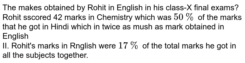 The makes obtained by Rohit in English in his class-X final exams? <br> Rohit sscored 42 marks in Chemistry which was `50%` of the marks that he got in Hindi which in twice as mush as mark obtained in English <br> II. Rohit's marks in Rnglish were `17%` of the total marks he got in all the subjects together.