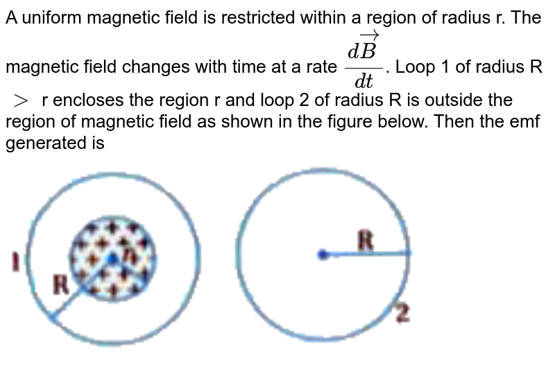 """A uniform magnetic field is restricted within a region of radius r. The magnetic field changes with time at a rate `(dvecB)/(dt)`. Loop 1 of radius R `gt` r encloses the region r and loop 2 of radius R is outside the region of magnetic field as shown in the figure below. Then the emf generated is <br> <img src=""""https://d10lpgp6xz60nq.cloudfront.net/physics_images/KPK_AIO_PHY_XII_P1_C06_E04_137_Q01.png"""" width=""""80%"""">"""