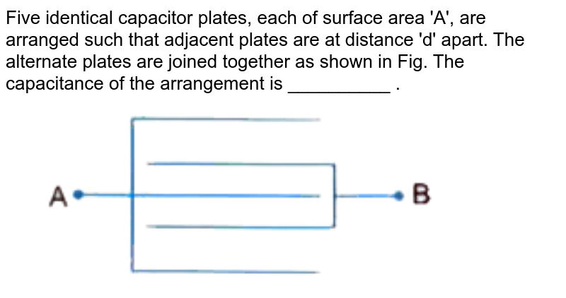 """Five identical capacitor plates, each of surface area 'A', are arranged such that adjacent plates are at distance 'd' apart. The alternate plates are joined together as shown in Fig.  The capacitance of the arrangement is __________ . <br> <img src=""""https://d10lpgp6xz60nq.cloudfront.net/physics_images/U_LIK_SP_PHY_XII_C02_E05_012_Q01.png"""" width=""""80%"""">"""