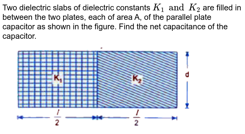 """Two dielectric slabs of dielectric constants `K_1 and K_2` are filled in between the two plates, each of area A, of the parallel plate capacitor as shown in the figure. Find the net capacitance of the capacitor.  <br> <img src=""""https://d10lpgp6xz60nq.cloudfront.net/physics_images/U_LIK_SP_PHY_XII_C02_E09_046_Q01.png"""" width=""""80%"""">"""