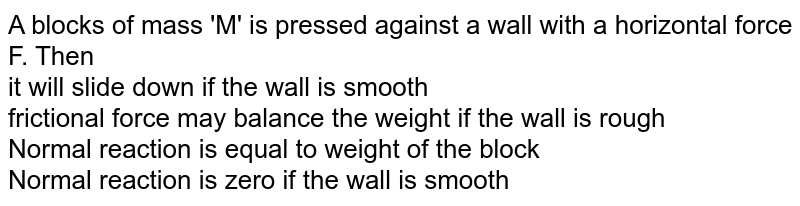 A blocks of mass 'M' is pressed  against  a wall with a horizontal force F. Then <br> it will slide down if the wall is smooth <br> frictional force may balance the weight if the wall is rough <br> Normal reaction is equal  to weight of the  block <br> Normal  reaction is zero  if the wall  is smooth