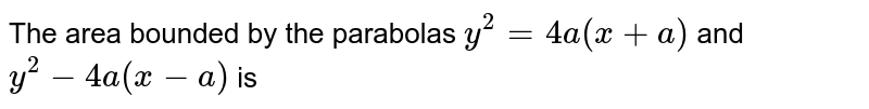 The area bounded by the parabolas `y^(2)=4a(x+a)` and `y^(2)-4a(x-a)` is