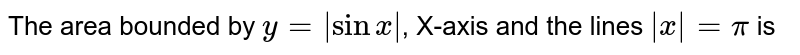 The area bounded by `y=|sinx|`, X-axis and the lines `|x|=pi` is