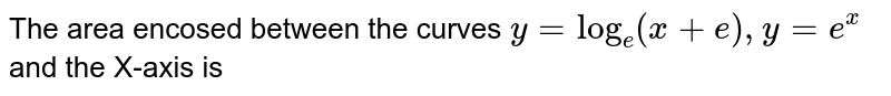 The area encosed between the curves `y=log_(e)(x+e),y=e^(x)` and the X-axis is