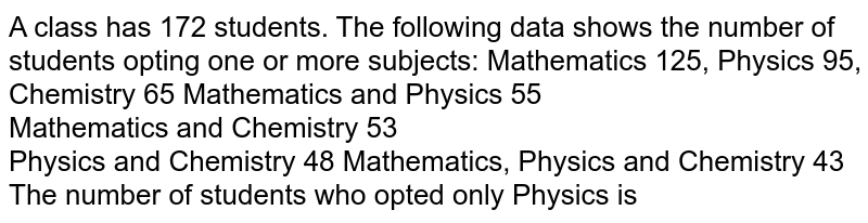 A class has 172 students. The following data shows the number of students opting one or more subjects: Mathematics 125, Physics 95, Chemistry 65 Mathematics and Physics 55 <br> Mathematics and Chemistry 53 <br> Physics and Chemistry 48 Mathematics, Physics and Chemistry 43 <br> The number of students who opted only Physics is