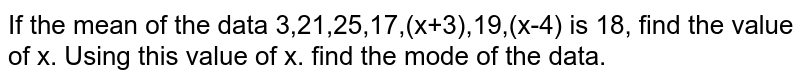 If the mean of the data 3,21,25,17,(x+3),19,(x-4) is 18, find the value of x. Using this value of x. find the mode of the data.