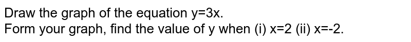 Draw the graph of the equation y=3x. <br> Form your graph, find the value of y when (i) x=2 (ii) x=-2.