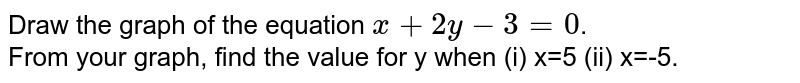 Draw the graph of the equation `x+2y-3=0`. <br> From your graph, find the value  fo y when (i) x=5 (ii) x=-5.