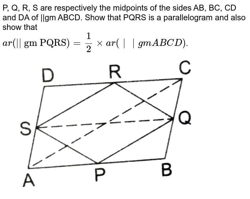 """P, Q, R, S are respectively the midpoints of the sides AB, BC, CD and DA of 
