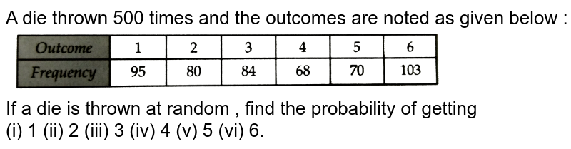 """A die thrown 500 times and the outcomes are noted as given below : <br> <img src=""""https://d10lpgp6xz60nq.cloudfront.net/physics_images/RSA_MATH_IX_C19_SLV_003_Q01.png"""" width=""""80%""""> <br> If a die is thrown at random , find the probability of getting <br> (i) 1 (ii) 2 (iii) 3 (iv) 4 (v) 5 (vi) 6."""