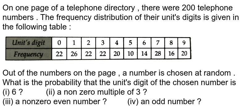 """On one page of a telephone directory , there were 200 telephone numbers . The frequency distribution of their unit's digits is given in the following table : <br> <img src=""""https://d10lpgp6xz60nq.cloudfront.net/physics_images/RSA_MATH_IX_C19_SLV_005_Q01.png"""" width=""""80%""""> <br> Out of the numbers on the page , a number is chosen at random . <br> What is the probability that the unit's digit of the chosen number is <br> (i) 6 ? `""""    """" `  (ii) a non zero multiple of 3 ? <br> (iii) a nonzero even number ? `""""   """"` (iv) an odd number ?"""
