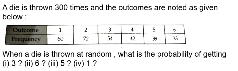 """A die is thrown 300 times and the outcomes are noted as given below : <br> <img src=""""https://d10lpgp6xz60nq.cloudfront.net/physics_images/RSA_MATH_IX_C19_E01_004_Q01.png"""" width=""""80%""""> <br> When a die is thrown at random , what is the probability of getting <br> (i) 3 ? (ii) 6 ? (iii) 5 ? (iv) 1 ?"""