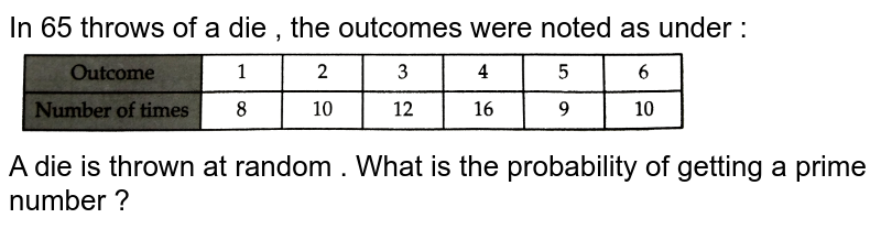 """In 65 throws of a die , the outcomes were noted as under : <br> <img src=""""https://d10lpgp6xz60nq.cloudfront.net/physics_images/RSA_MATH_IX_C19_E02_013_Q01.png"""" width=""""80%""""> <br> A die is thrown at random . What is the probability of getting a prime number ?"""
