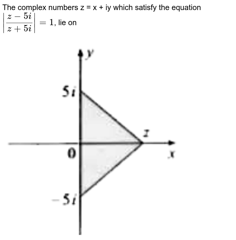 """The complex numbers z = x + iy which satisfy the equation ` (z-5i)/(z+5i) =1`, lie on <br> <img src=""""https://d10lpgp6xz60nq.cloudfront.net/physics_images/MGH_50Y_JEE_MN_MAT_C02_SLV_041_Q01.png"""" width=""""80%"""">"""