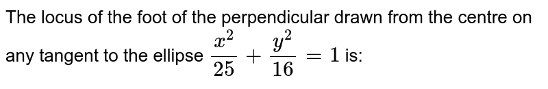 The locus of the foot of the perpendicular drawn from the centre on any tangent to the ellipse `x^2/25+y^2/16=1` is: