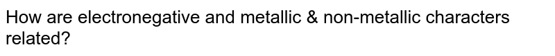 How are electronegative and metallic & non-metallic characters related?