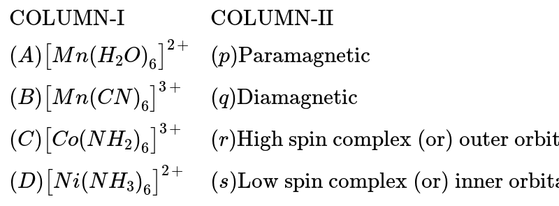 """`{:(""""COLUMN-I"""",""""COLUMN-II""""),((A)[Mn(H_(2)O)_(6)]^(2+),(p)""""Paramagnetic""""),((B)[Mn(CN)_(6)]^(3+),(q)""""Diamagnetic""""),((C)[Co(NH_(2))_(6)]^(3+),(r)""""High spin complex (or) outer orbital complex""""),((D)[Ni(NH_(3))_(6)]^(2+),(s)""""Low spin complex (or) inner orbital complex""""):}`"""