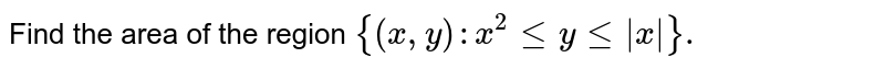 Find the area of the region `{(x,y):x^2 le y le |x| }.`