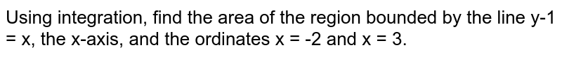 Using integration, find the area of the region bounded by the line y-1 = x, the x-axis, and the ordinates x = -2 and x = 3.