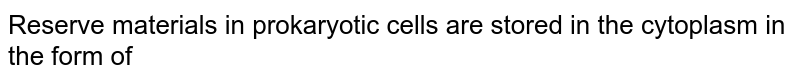 Reserve materials in prokaryotic cells are stored in the cytoplasm in the form of