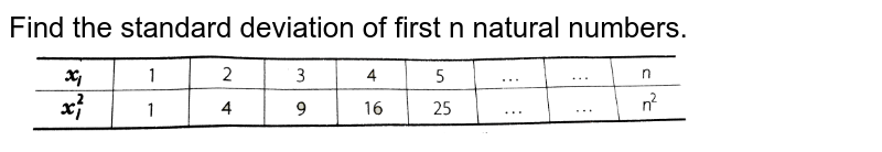 """Find the standard deviation of first n natural numbers. <br>  <img src=""""https://d10lpgp6xz60nq.cloudfront.net/physics_images/ARH_NCERT_EXE_MATH_XI_C15_S01_005_Q01.png"""" width=""""80%"""">"""