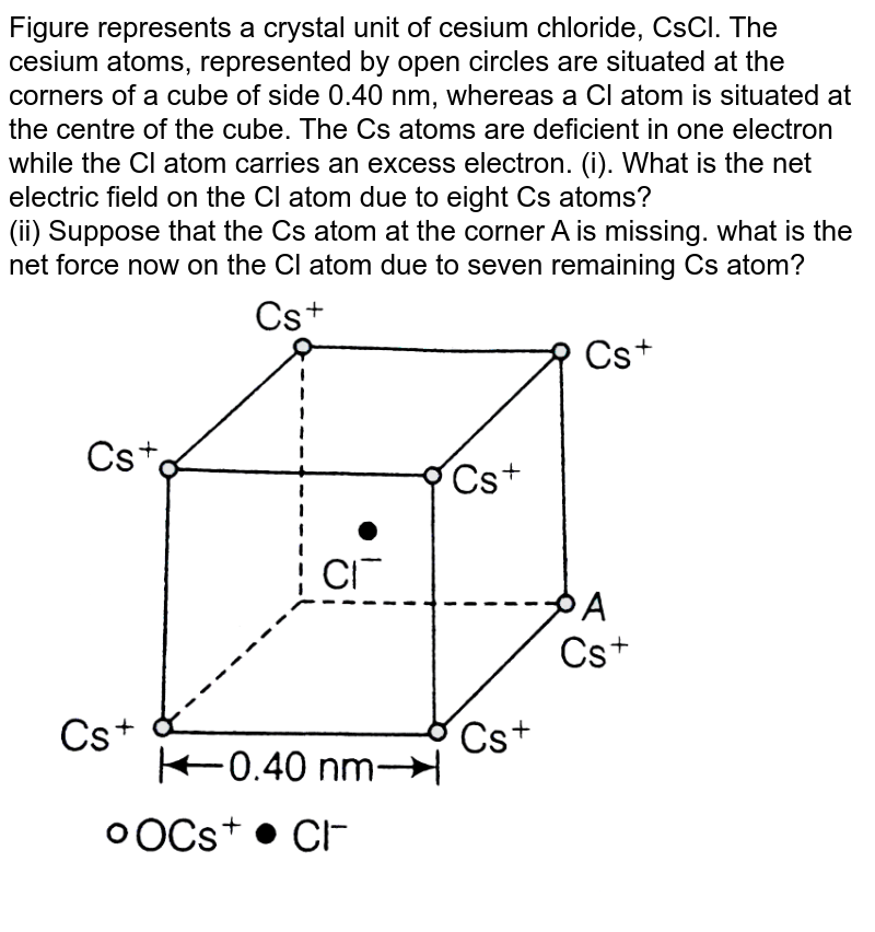 """Figure represents a crystal unit of cesium chloride, CsCl. The cesium atoms, represented by open circles are situated at the corners of a cube of side 0.40 nm, whereas a Cl atom is situated at the centre of the cube. The Cs atoms are deficient in one electron while the Cl atom carries an excess electron.  (i). What is the net electric field on the Cl atom due to eight Cs atoms? <br> (ii) Suppose that the Cs atom at the corner A is missing. what is the net force now on the Cl atom due to seven remaining Cs atom? <br> <img src=""""https://d10lpgp6xz60nq.cloudfront.net/physics_images/ARH_NCERT_EXE_PHY_XII_C01_S01_022_Q01.png"""" width=""""80%"""">"""