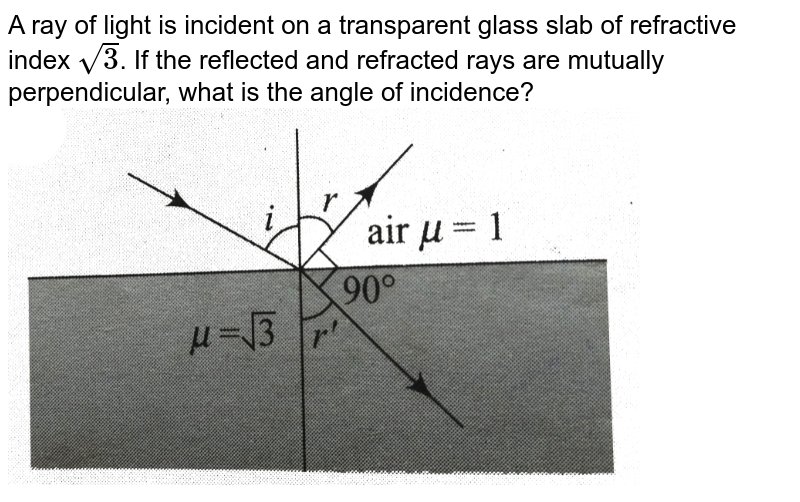 """A ray of light is incident on a transparent glass slab of refractive index `sqrt3`. If the reflected and refracted rays are mutually perpendicular, what is the angle of incidence? <br> <img src=""""https://d10lpgp6xz60nq.cloudfront.net/physics_images/BMS_V04_C01_S01_030_Q01.png"""" width=""""80%"""">"""
