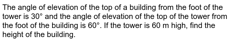 The angle of elevation of the top of a building from the foot of the tower is 30° and the angle of elevation of the top of the tower from the foot of the building is 60°. If the tower is 60 m high, find the height of the building.
