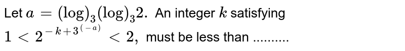 Let `a=(log)_3(log)_3 2.` An integer `k` satisfying `1<2^(-k+3^((-a)))<2,` must be less than ..........