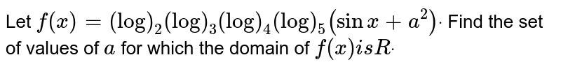 Let `f(x)=(log)_2(log)_3(log)_4(log)_5(sin x+a^2)dot` Find the set of values of `a` for which the domain of `f(x)i sRdot`