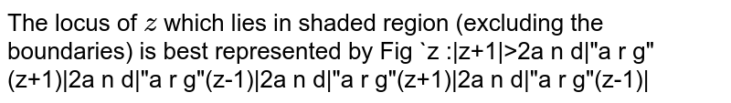 """The locus of `z` which lies in shaded region (excluding the boundaries) is best   represented by Fig  `z :