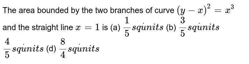 The area bounded by the two branches of curve `(y-x)^2=x^3` and the straight line `x=1` is (a) `1/5s qdotu n i t s`  (b) `3/5s qdotu n i t s`  `4/5s qdotu n i t s`  (d) `8/4s qdotu n i t s`