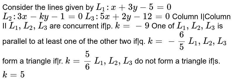 Consider the lines given by `L_1: x+3y-5=0`  `L_2:3x-k y-1=0`  `L_3:5x+2y-12=0`  Column   I|Column II `L_1,L_2,L_3` are   concurrent if|p. `k=-9`  One of `L_1,L_2,L_3` is parallel to at least one of the other two if|q. `k=-6/5`  `L_1,L_2,L_3` form a triangle if|r. `k=5/6`  `L_1,L_2,L_3` do not form a   triangle if|s. `k=5`