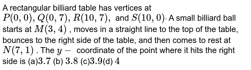 A rectangular billiard table has vertices at `P(0,0),Q(0,7),R(10 ,7),` and `S(10 ,0)dot` A small billiard ball starts at `M(3,4)` , moves in a straight line to the top of the table, bounces to the   right side of the table, and then comes to rest at `N(7,1)` . The `y-` coordinate of the point where it hits the right side is (a)`3.7` (b) `3.8`   (c)` 3.9 `(d)   `4`