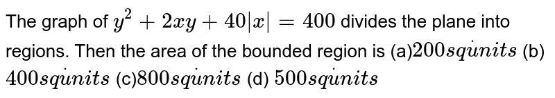 The graph of `y^2+2x y+40 x =400` divides the plane into regions. Then the area of the bounded region is (a)`200s qdotu n i t s`  (b) `400s qdotu n i t s`  (c)`800s qdotu n i t s`  (d) `500s qdotu n i t s`