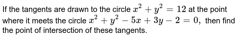 If the tangents are drawn to the circle `x^2+y^2=12` at the point where it meets the circle `x^2+y^2-5x+3y-2=0,` then find the point of intersection of these tangents.