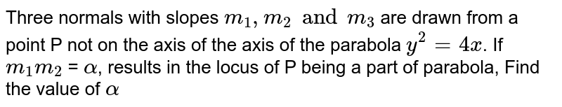 Three normals with slopes `m_1, m_2 and m_3` are drawn from a point P not on the axis of the axis of the parabola `y^2 = 4x`. If `m_1 m_2` = `alpha`, results in the locus of P being a part of parabola, Find the value of `alpha`