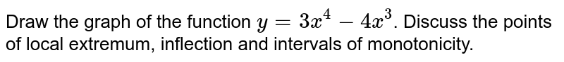 Draw the graph of the function `y=3x^(4)-4x^(3)`. Discuss the points of local extremum, inflection and intervals of monotonicity.