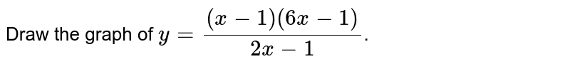 Draw the graph of `y=((x-1)(6x-1))/(2x-1)`.