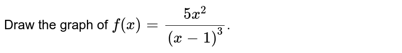 Draw the graph of `f(x)=(5x^(2))/((x-1)^(3))`.