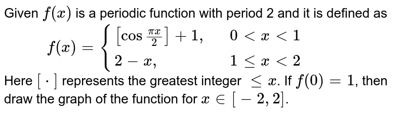 """Given `f(x)` is a periodic function with period 2 and it is defined as <br> `""""       """"f(x) = {{:([cos""""""""(pix)/(2)]+1"""","""",,0lt x lt 1), (2-x"""","""",,1 le x lt 2):}` <br> Here `[*]` represents the greatest integer `le x`. If `f(0)=1`, then draw the graph of the function for `x in [-2, 2]`."""