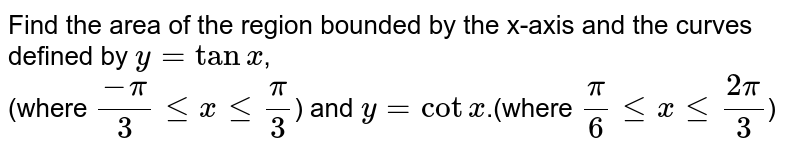 Find the area  of the region bounded by the x-axis and the curves defined by `y = tanx`, <br> (where `(-pi)/(3) le x le (pi)/(3)`) and ` y = cotx`.(where `(pi)/(6) le x le (2pi)/(3)`)