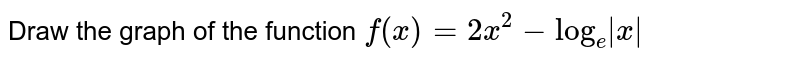 Draw the graph of the function `f(x) = 2x^(2)-log_(e)|x|`