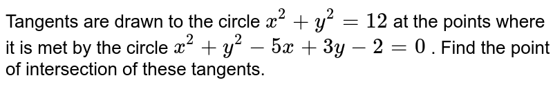 Tangents are drawn to the circle `x^2+y^2=12` at the points where it is met by the circle `x^2+y^2-5x+3y-2=0` . Find the point of intersection of these tangents.