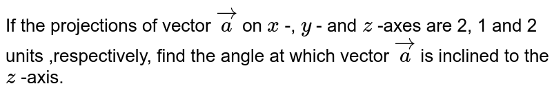 If the projections of   vector ` vec a` on `x` -, `y` - and `z` -axes are 2, 1 and 2 units   ,respectively, find the angle at which vector ` vec a` is inclined to the `z` -axis.