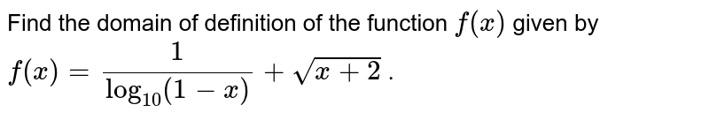 Find the domain of definition of the function `f(x)` given by `f(x)=1/(log_(10)(1-x))+sqrt(x+2)` .
