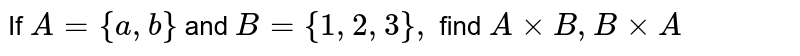 If `A={a ,b}` and `B={1,2,3},` find `AxxB ,BxxA`