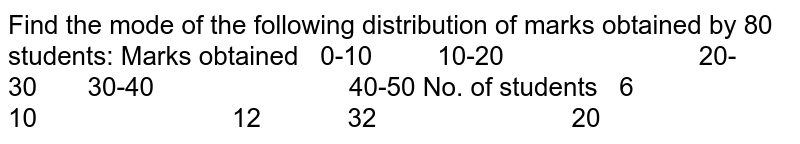 Find the mode of the following distribution of marks obtained by 80   students: Marks obtained 0-10 10-20 20-30 30-40 40-50 No. of students 6 10 12 32 20