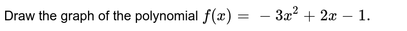 Draw the graph of the polynomial `f(x)=-3x^2+2x-1.`